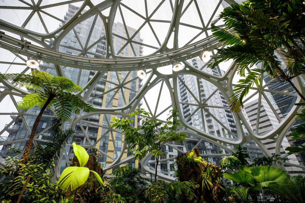 Pohľad zvnútra na The Spheres, Amazon, Seattle, USA